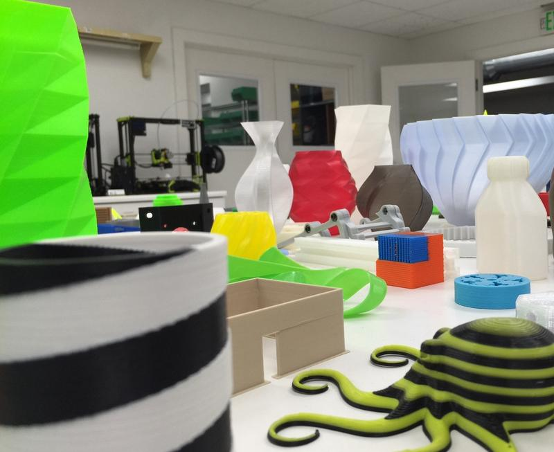The testing lab at Aleph Objects in Loveland has dozens of different 3D test prints.