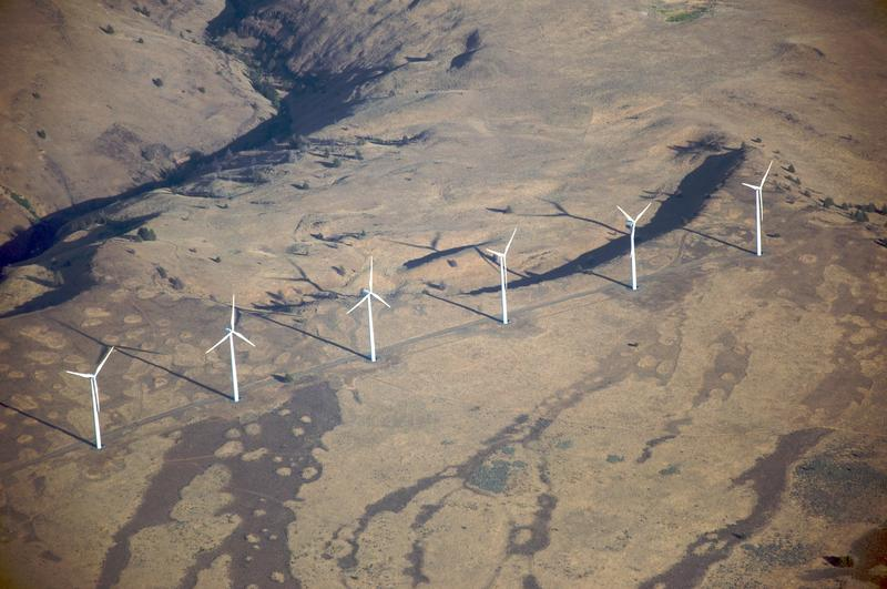 Windmills near the Columbia River Gorge, where CU researchers plan to collect data to improve wind forecasting models.