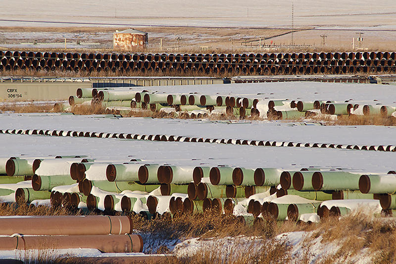 For the past three years, the Keystone XL pipeline has sat in this field in southwestern North Dakota.