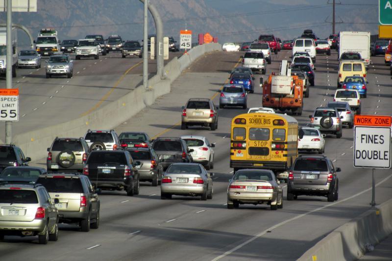 Traffic on I-25 north of Denver.