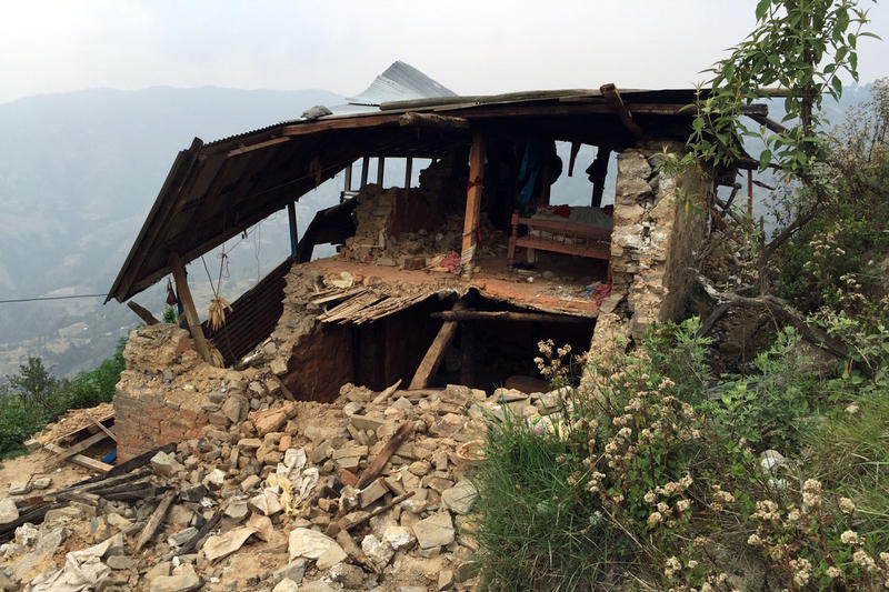 An earthquake damaged home in Nepal.