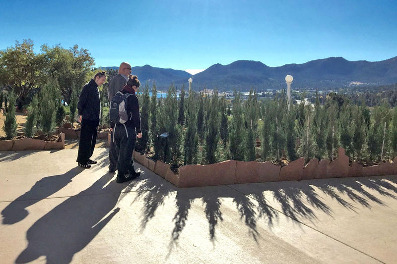 Standing center, Earl South and friends, Ian Frederick and Amy Babb, look over the outer edge of the Stanley Hotel's new hedge maze.