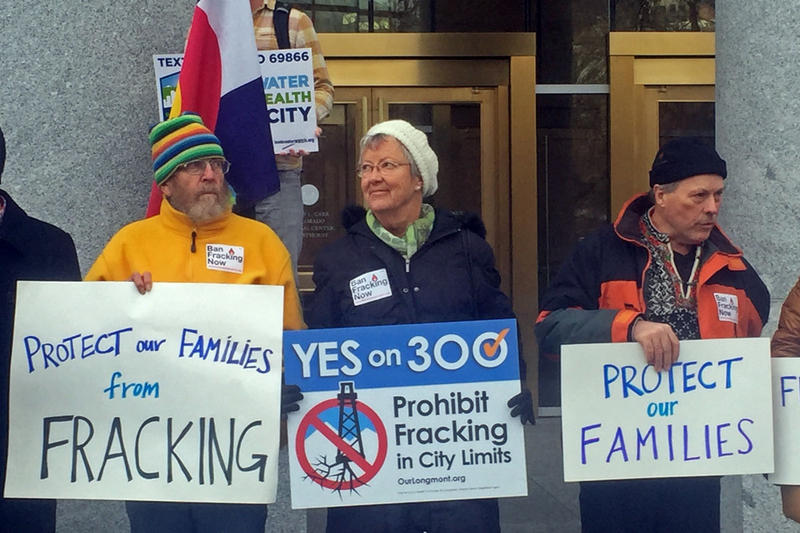 Protesters at the Colorado Supreme Court in 2015. In May, 2016 the Court unanimously struck down the city of Longmont's fracking ban.