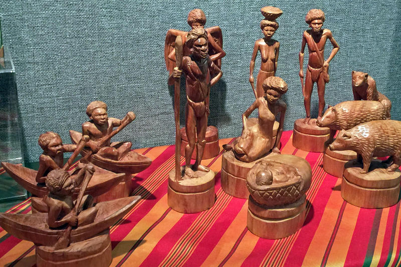 A wooden nativity set from the Solomon Islands features the three wise men arriving by canoe