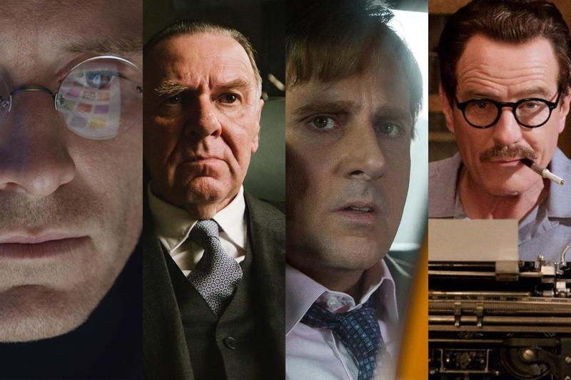 From left to right: Micheal Fassbender in 'Steve Jobs,' Tom Wilkinson as LBJ in 'Selma,' Steve Carrel as Mark Baum in 'The Big Short,' and Bryan Cranston as Trumbo.