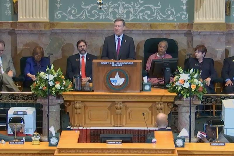 Screencap of Gov. John Hickenlooper giving his State of the State address, Jan. 14, 2016.