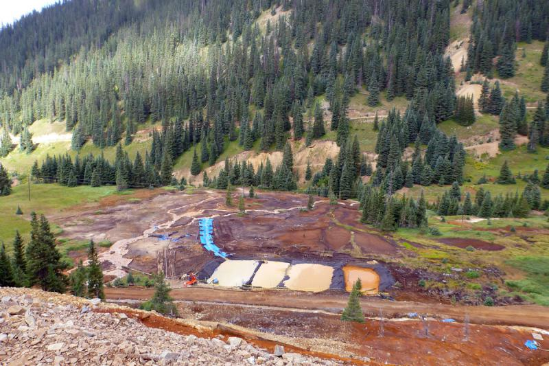 These treatment ponds were built at mines close to the Gold King Mine in Colorado. When water leaves the mines, these ponds slow it down and allow us to adjust the pH and let contaminants settle to the bottom.