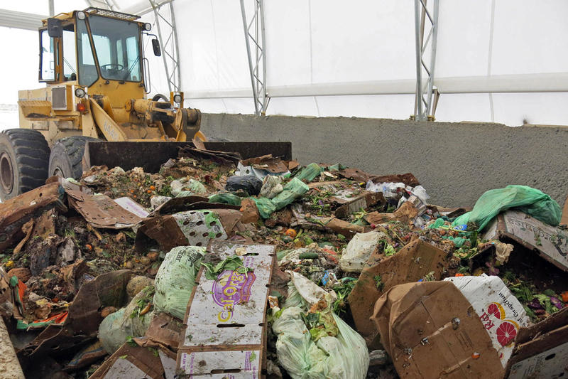Food waste at the Heartland Biogas Project in rural Weld County, Colo., waits to be sorted.