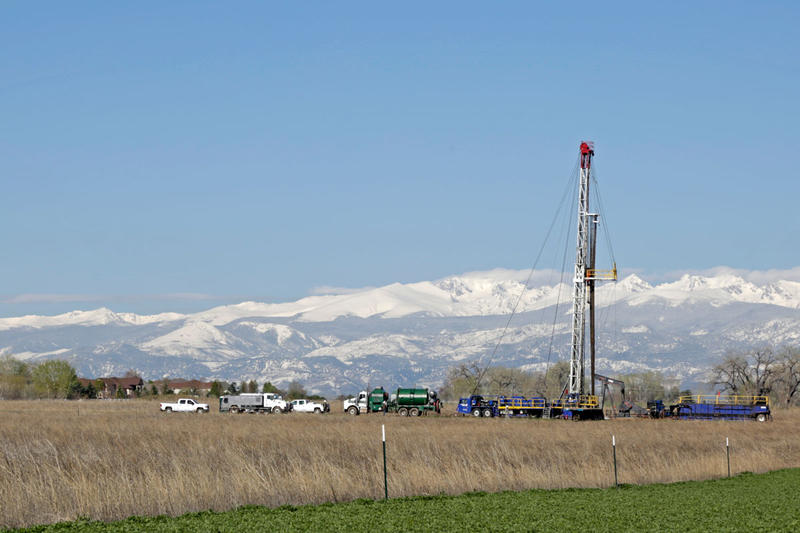 A workover rig operating at a well site near Erie, Colo.