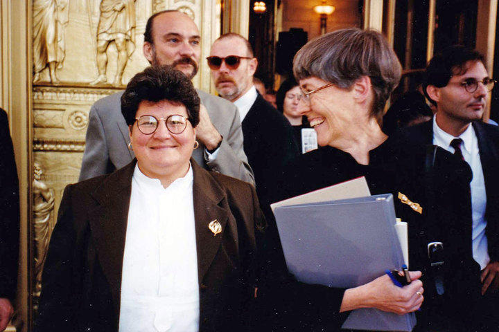Attorneys for Plantiffs Mary Celeste (L) and lead Jean Dubofsky at the United States Supreme Court on the day that oral arugments were given in the Romer v. Evans case.