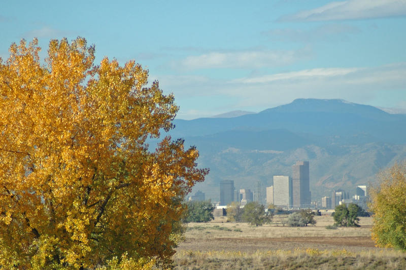 A view from the Rocky Mountain Arsenal of the Denver skyline.