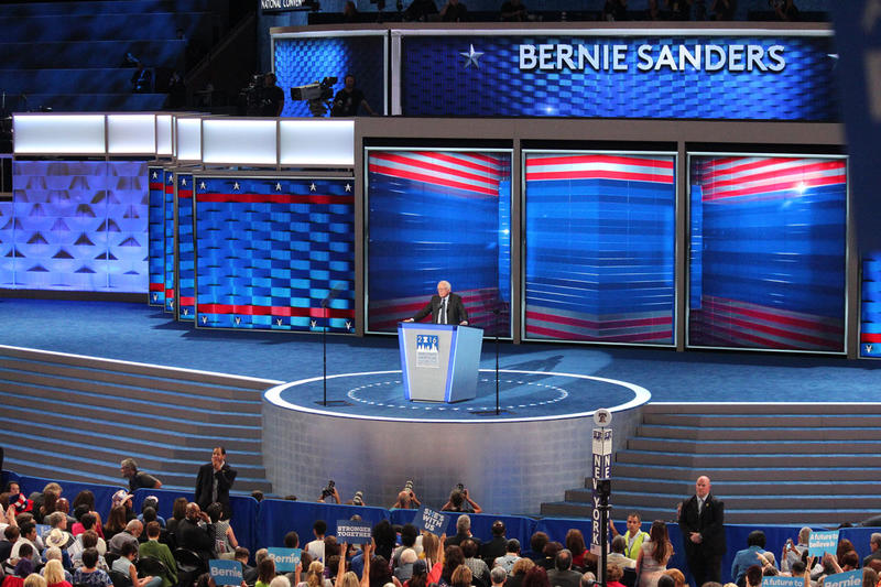 Bernie Sanders speaks to the Democratic National Convention on day 1, July 25, 2016. Other speakers included First Lady Michelle Obama and Sen. Elizabeth Warren.