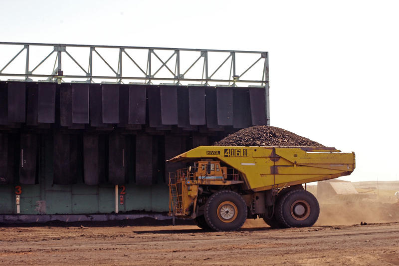 A truck hauls coal at Alpha Natural Resources' Eagle Butte Mine in Wyo. File photo dated August 5, 2014.
