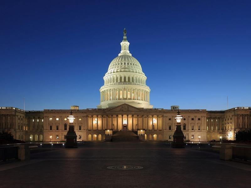 A nighttime shot of the U.S. Capitol, where the action happens.
