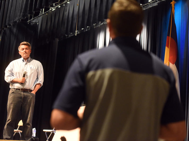 Sen. Cory Gardner listening to a question at his Greeley town hall on Aug. 15.