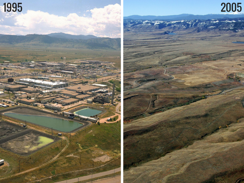 Rocky Flats in 1995 before the cleanup began, and in 2005 after the multi-billion dollar effort was completed.