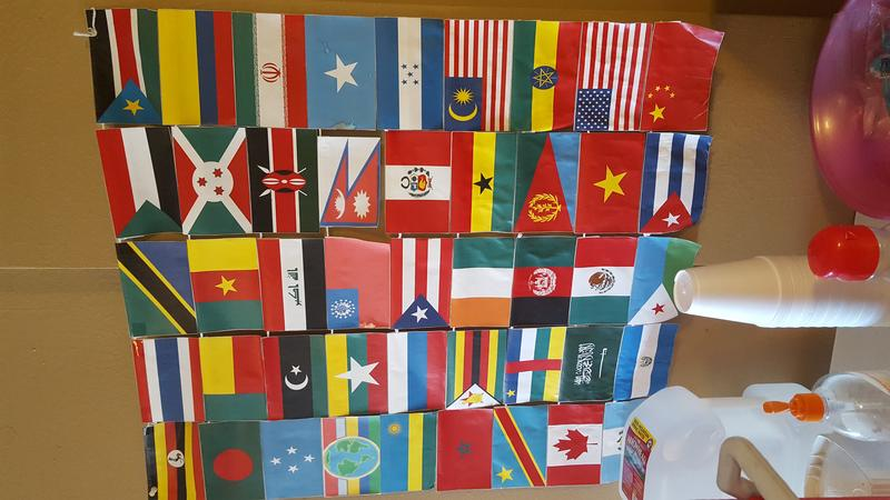 A display at the Immigrant & Refugee Center of Northern Colorado that celebrates the heretige of program participants.
