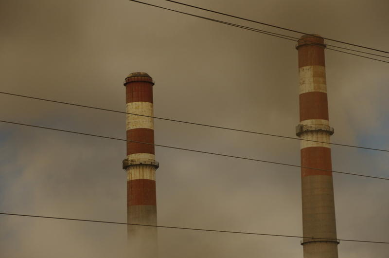 The smokestacks at the Comanche power plant in Pueblo, Colo.