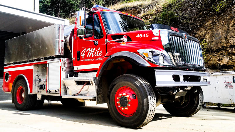 A fire truck sits ready at the Fourmile Fire Protection District's Poorman Station.