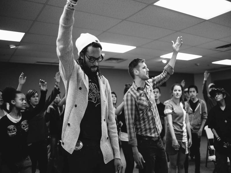 """Brer Rabbit and Jonny 5 (Jamie Laurie) of the Flobots lead a chorus for a recording on the Flobot's new album, """"No Enemies."""""""