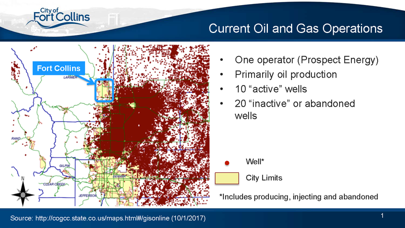 A map illustrating the oil and gas production in the northern part of the Front Range.