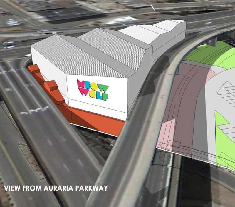 "The venue will sit on a triangle-shaped plot of land -- likened to resembling a ""droopy slice of pizza"" -- nestled between the viaducts of I-25 and Colfax Avenue."