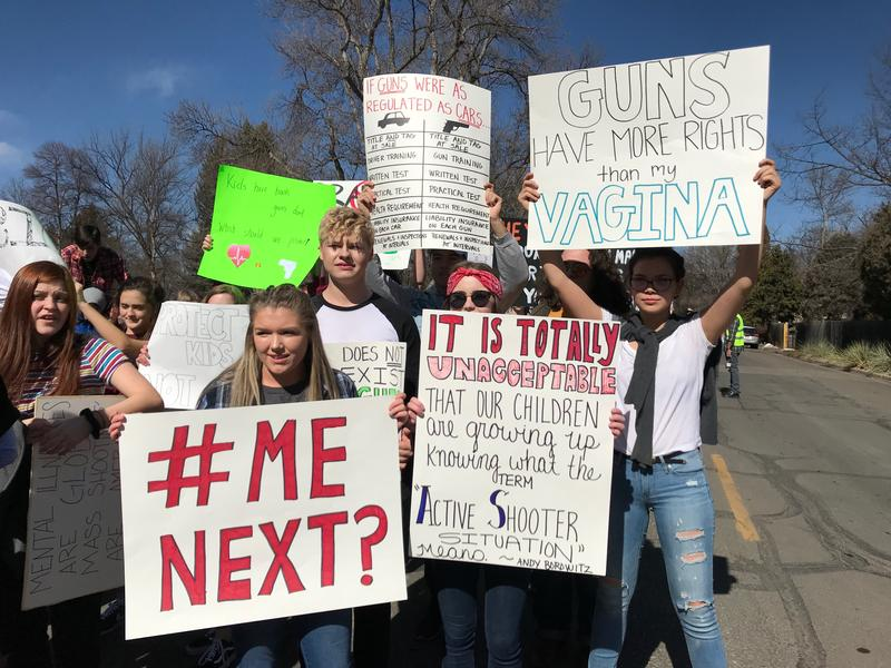Students protest gun violence during a school walkout.