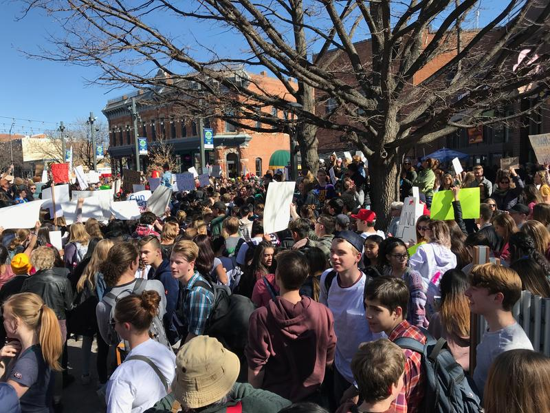 Hundreds of high school students gather in Town Square in Fort Collins to advocate for stricter gun laws as part of a walkout held Feb. 27.