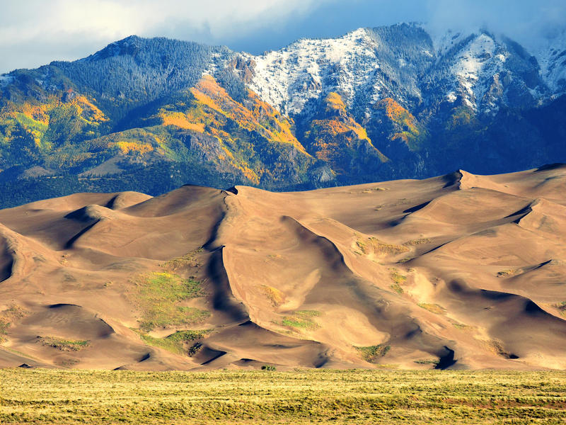A view of Great Sand Dunes National Park and Preserve in southwest Colorado in September 2017, with the Sangre de Cristo mountains in the background.