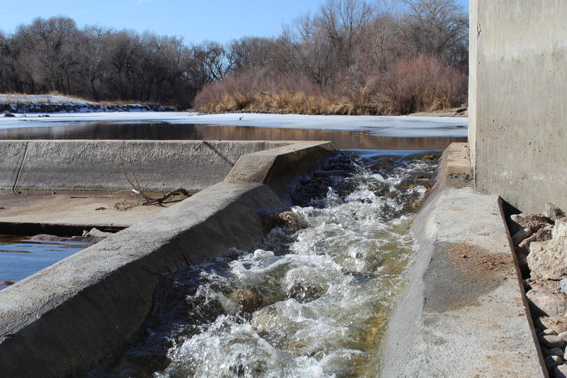 Water flows through a fish ladder, built along the edge of the Fossil Creek diversion structure in Fort Collins. It allows fish to travel between two previously disconnected stretches of the Poudre River.