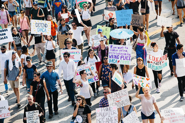 People marched in the fall of 2017 in Los Angeles, Calif., in support of immigrant rights.