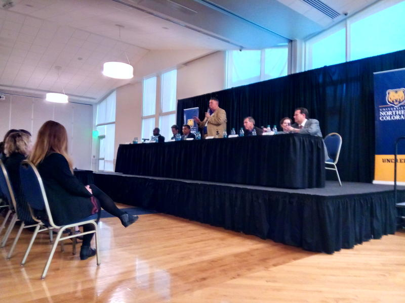 Candidates for Colorado governor at the University of Northern Colorado on April 10. From left: Erik Underwood (D), Mike Johnston (D), Greg Lopez (R), Scott Helker (L), Doug Robinson (R), Donna Lynne (D) and Steve Barlock (R)