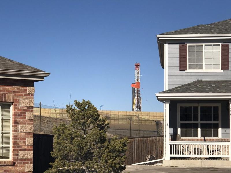 A drilling rig near a neighborhood in Erie, Colorado.