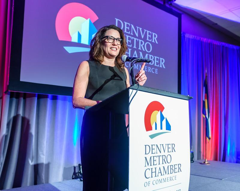 Kelly Brough, president and CEO of the Denver Metro Chamber of Commerce speaks about the propsed ballot initiative at a luncheon on May 11.