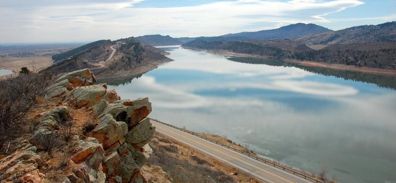 Horsetooth Reservoir outside Fort Collins, Colorado is part of the Colorado-Big Thompson Project.