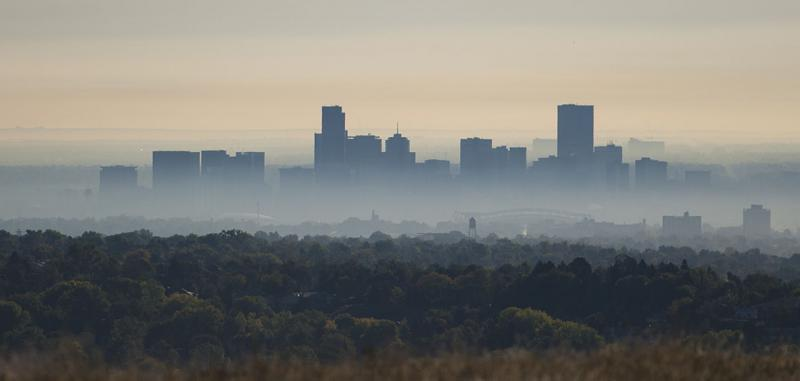 Smog settles over the city of Denver.