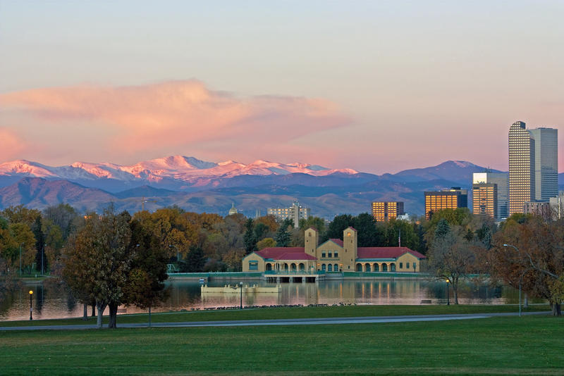 Denver's mountain backdrop from City Park