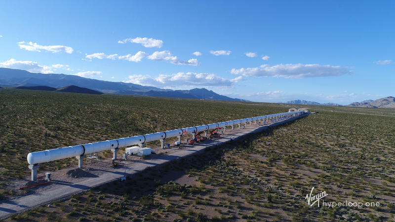 A Hyperloop One test site in the desert outside of North Las Vegas, Nevada.