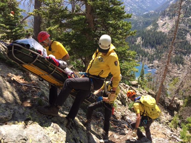 On Aug. 16, 2016, rescuers at Rocky Mountain National Park evacuate an injured man above Lake Haiyaha.