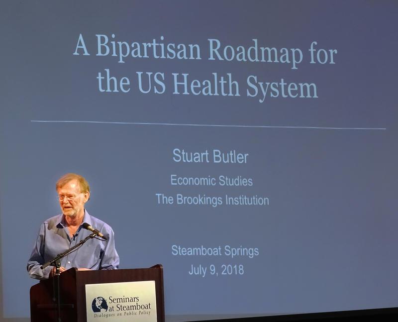 Stuart Butler talking at the Seminars at Steamboat.