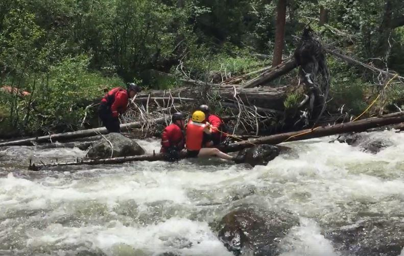 On July 5, 2017, a visitor to Rocky Mountain National Park fell into the St. Vrain River and held onto a rock and log until rescued.