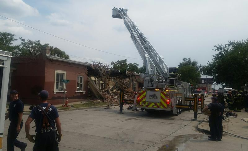 A photo from the scene of the home explosion at 4th and Sante Fe in Denver.