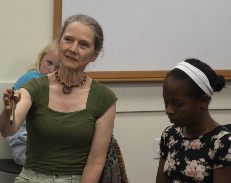 Susan Marie Frontzcak coaching a group of Young Chautauquans (also pictured: Jordyn Birdwell, portraying Rosa Parks)