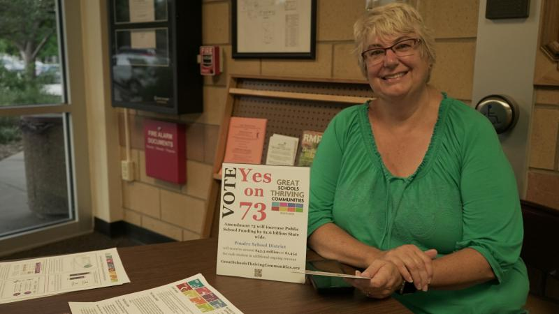 Cathy Kipp attended back-to-school night at Kruse Elementary School in Fort Collins to hand out information in support of Amendment 73.