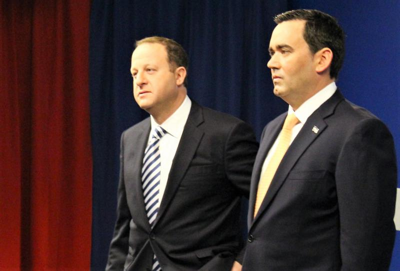 Democrat Jared Polis and Republican Walker Stapleton inside the CBS4 studio just before their first televised debate.