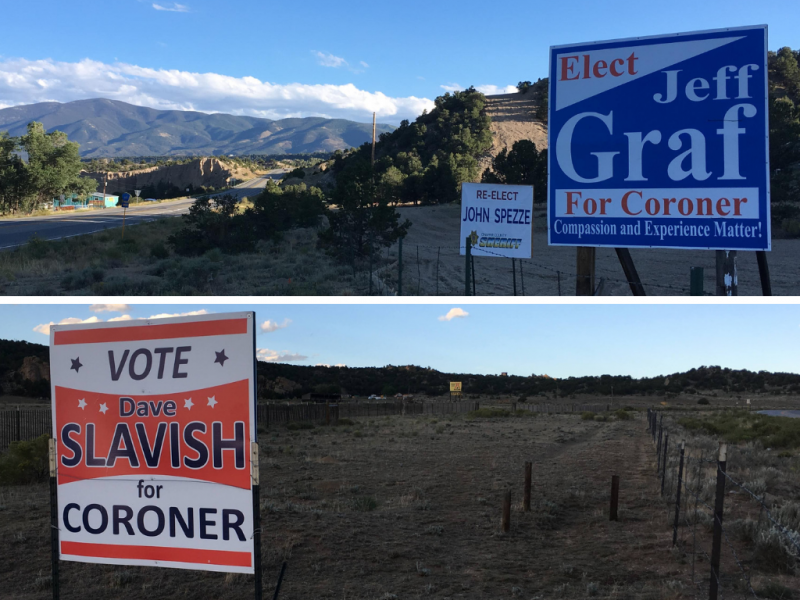 Coroner campaign signs dot the main roads in Chaffee County, Colo.