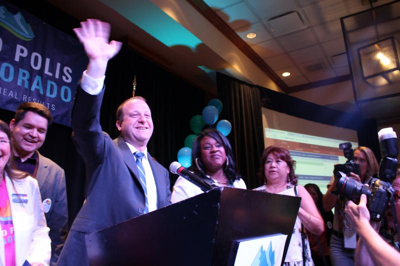 Democratic candidate Jared Polis, accepts the nomination for Colorado Governor at primary watch party in Broomfield on June 26th, 2018.