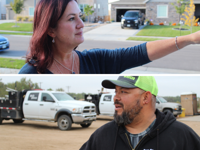 Erika Deakin, above, points to one of the well pads that sits within a half-mile of her Erie home. Roy Ramirez, below, stands outside the maintenance bay for his company, RAM-CO Services, in Platteville.
