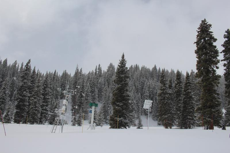 A research station collects snow data in Colorado's San Juan mountains in March 2018.