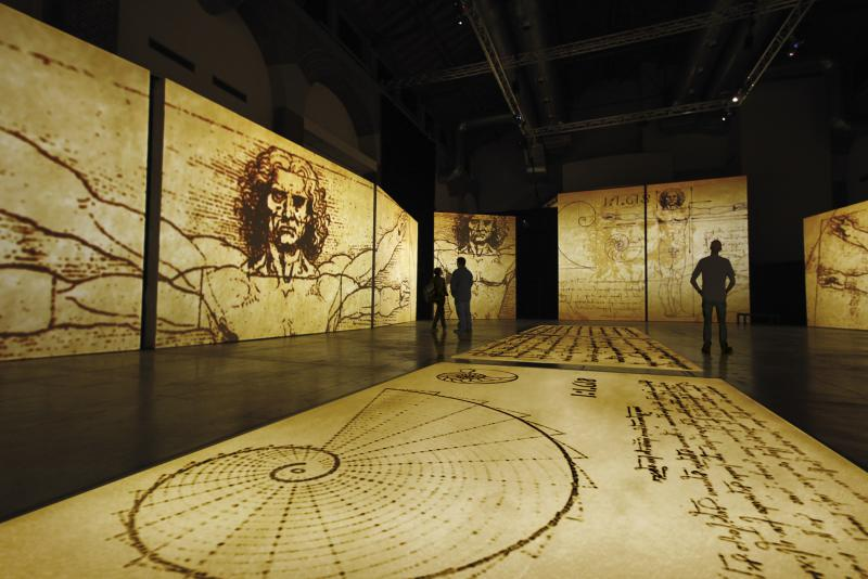 Visitors will be immersed in da Vinci's works through a multisensory cinematic experience using motion graphics, surround sound, photography and video footage to create a display of the codices, computer-generated imagery and art.